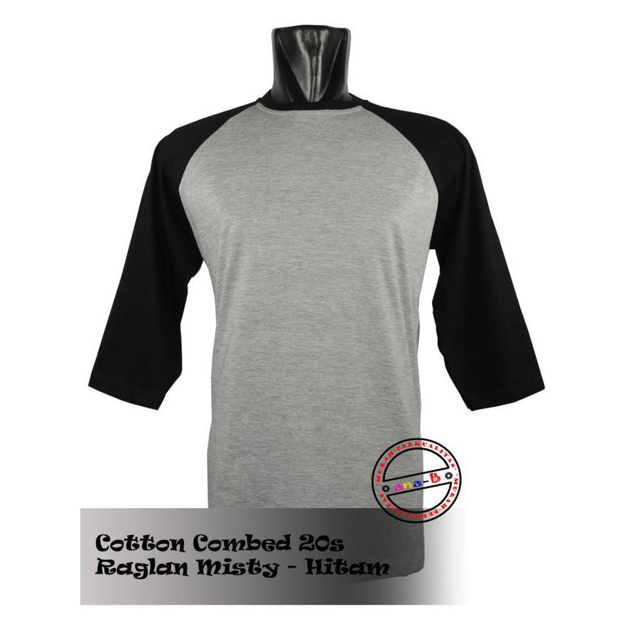 Harga Kaos Polos Raglan Abu Hitam Termurah November 2018 Cari Dan Size M Cotton Combed 20s Misty O Neck S