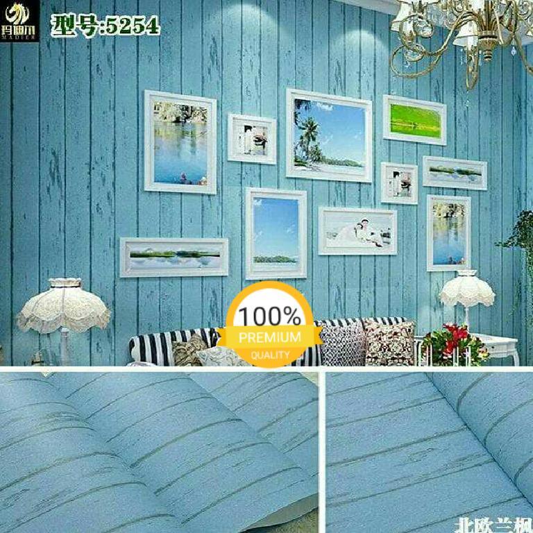 Grosir murah wallpaper sticker dinding kamar ruang indah bagus elegan abu abu garis hitam