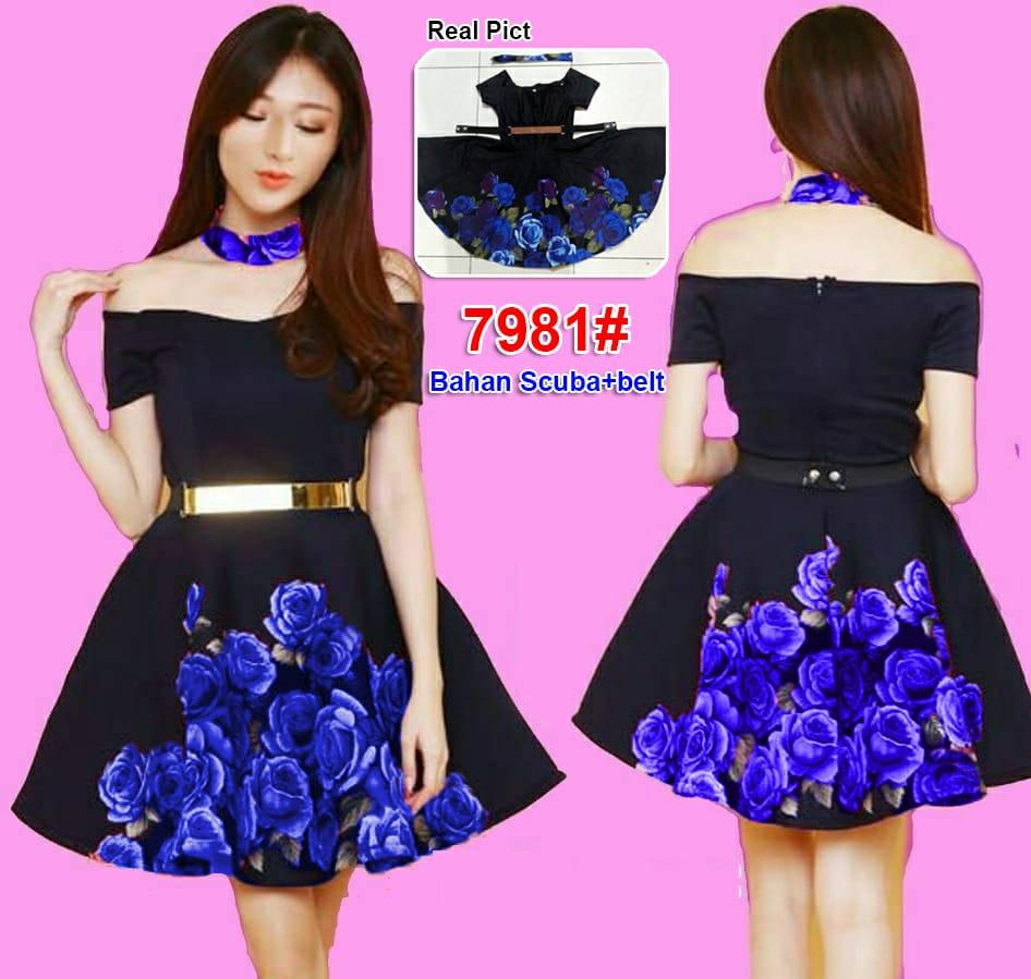 7981# dress mekar / dress sabrina / gaun fashion import / dress scuba / gaun pesta