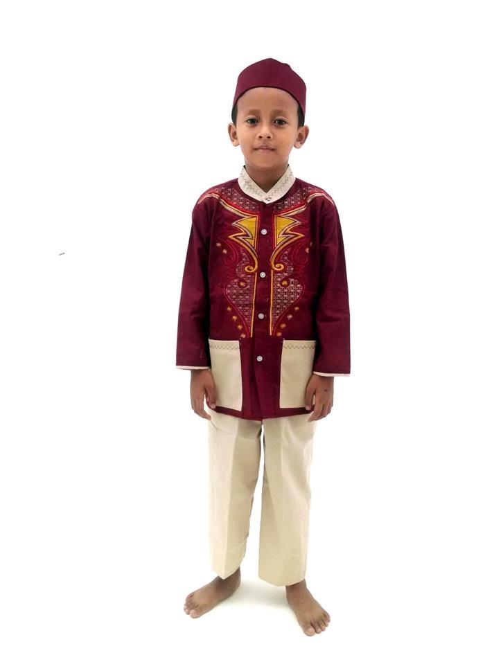 Stelan Koko Anak/ Baju koko anak keren 1 setel - Maroon