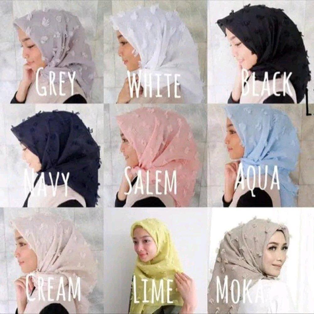 Hijab Kerudung Jilbab Segiempat segi empat Linen Rubiah MUSLIMAH TRENDY