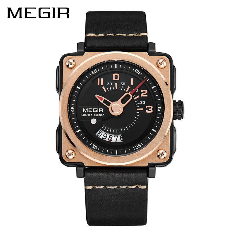 600ae01e803b MEGIR 2040 Sport Men Watch Leather Strap Square Relogio Masculino Clock Men  Quartz Military Watches Reloj