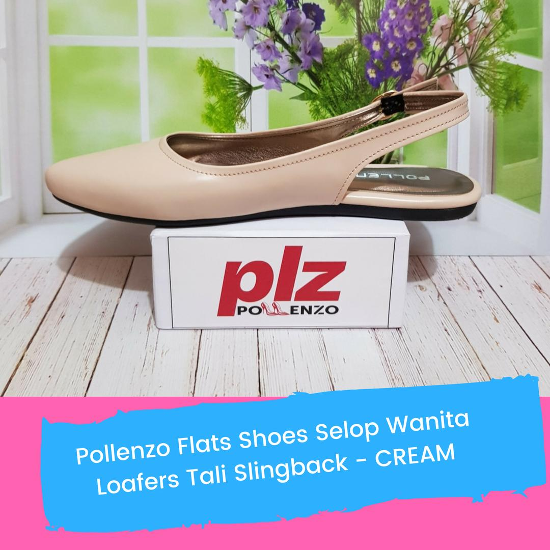 Pollenzo Flats Shoes Selop Wanita Loafers Tali Slingback - CREAM