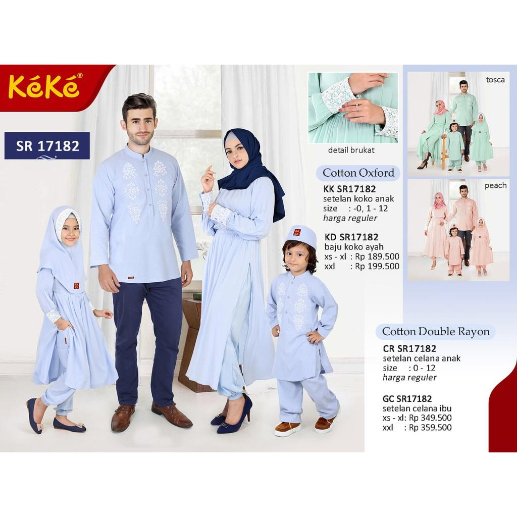 Busana Muslim Sarimbit Keke Warna Biru Model SR 17182