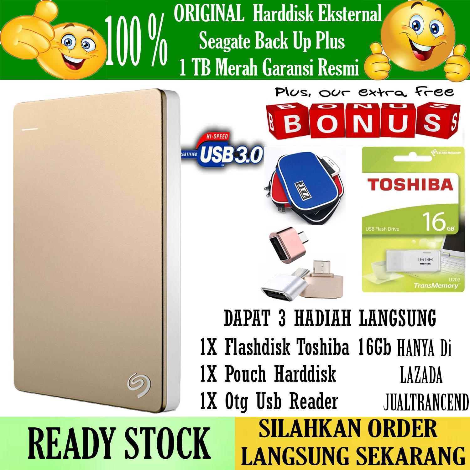 Seagate Backup Plus Slim 1TB - HDD - HD - Hardisk External 2.5 - Gold + Gratis  Flashdisk 16Gb Toshiba 2.0 + Pouch Harddisk + Otg Mini Reader