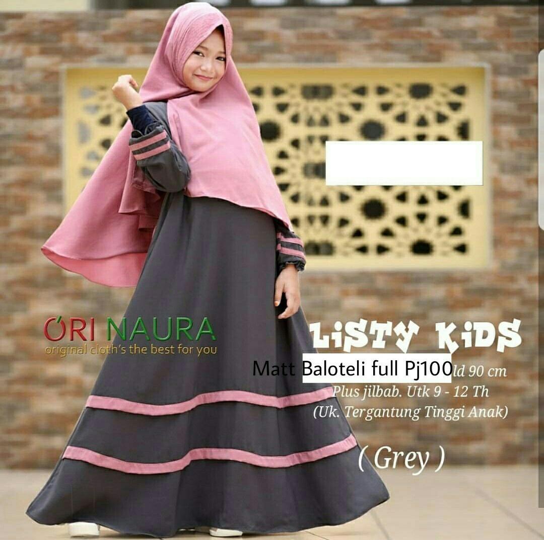 Honeyclothing Dress Muslim Anak Listida / Gamis Anak Perempuan Terbaru / Baju Muslim Hijab Anak