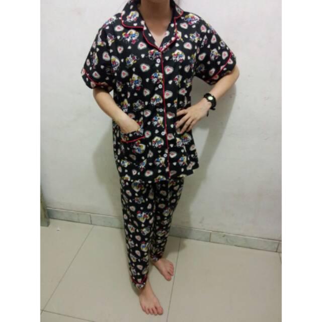 RX Fashion Piyama Pajamas Mickey Love KECIL CP Bahan Kartun Jepang Fit L 1R