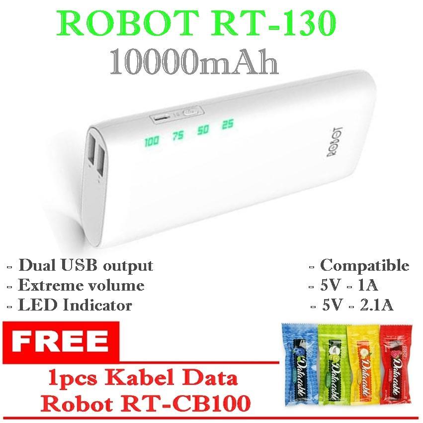 ROBOT Powerbank Original RT130 2 USB Port/ 10000 mAh - Putih