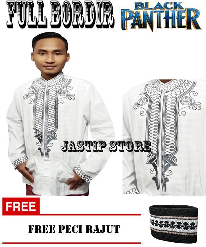 Full Bordir - Baju Koko Black Panther Full Bordir - Baju muslim Lengan Panjang Free Peci