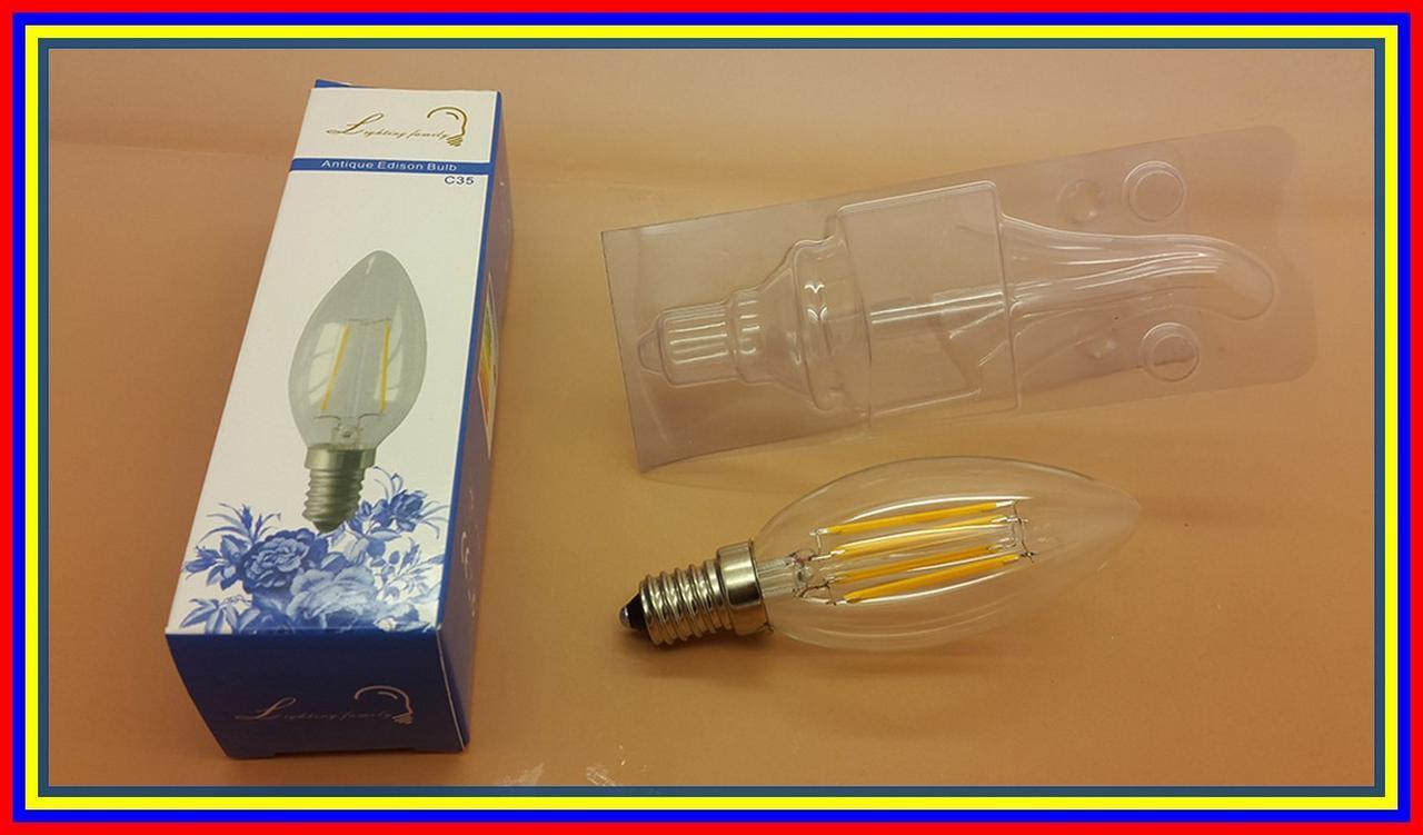 4 Watt Cahaya Kuning E14 Lampu Bohlam Led Edison Filament Bulb