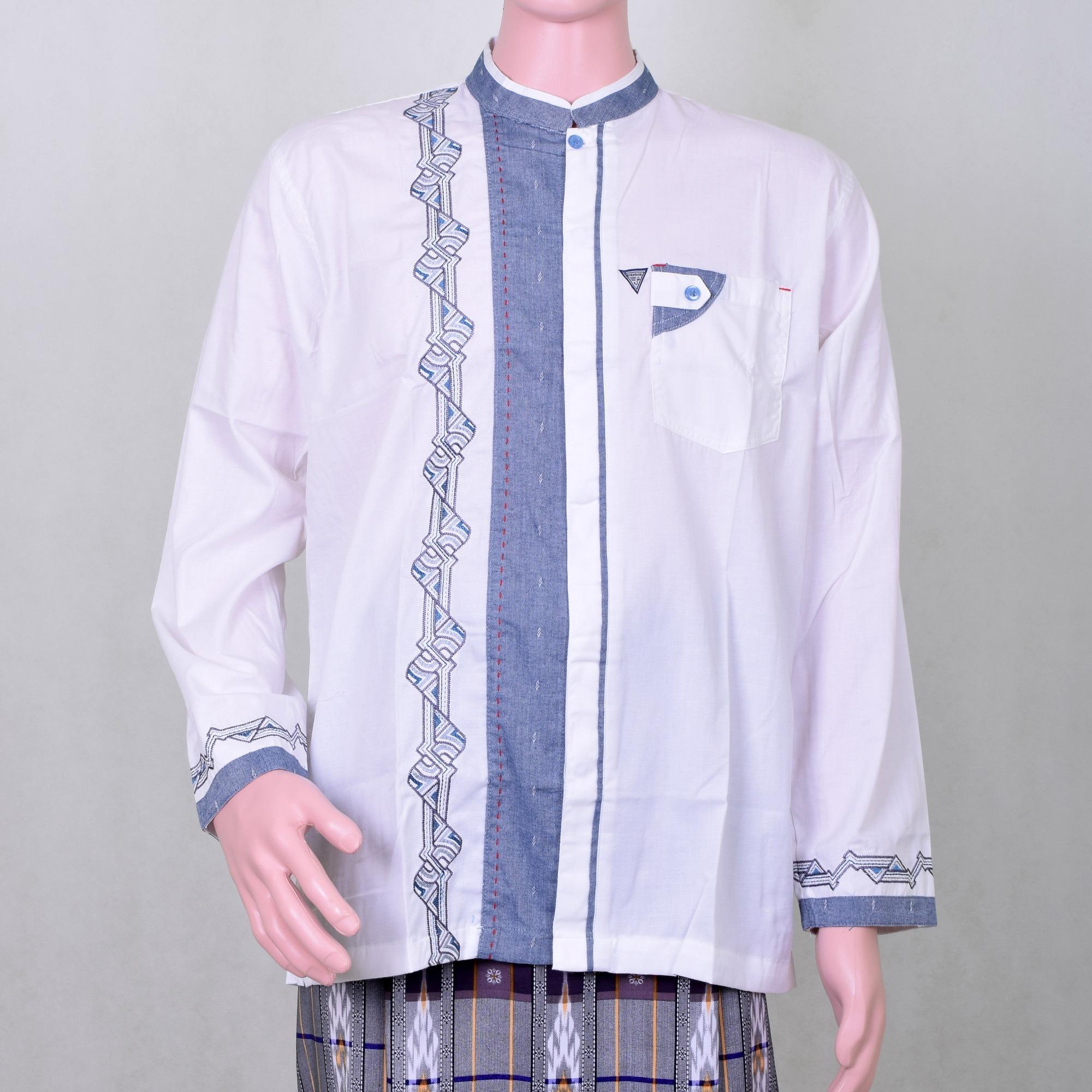 Baju Koko Pria Putih Tulang Kombinasi Biru Abu Abu Bordir Berkualitas Keren dan Berwibawa 5