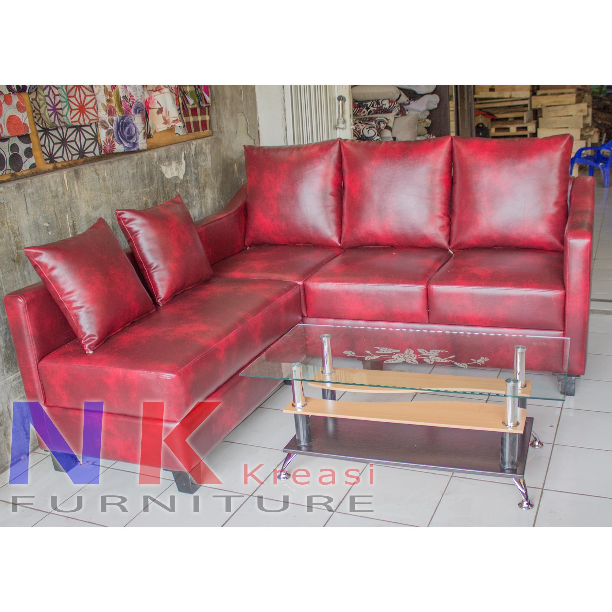 Sofa Kursi Tamu L Minimalis, Sofa Sudut kantor Mewah + MEJA TAMU - JABODETABEK ONLY