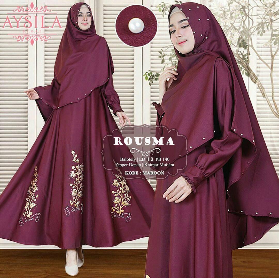 Fashion.Area - Rousma Syari Marun (Dapat Jilbab) / Dress Muslim / Gamis Wanita / Baju Muslim / Hijab Muslim / Fashion Muslim / Syar'i Muslim / Maxi Dress Lengan Panjang / Gamis Modern / Gamis Busui