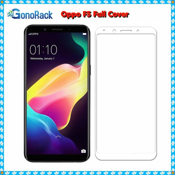 Tempered Glass Oppo F5 Full Cover 3D Anti Gores Kaca Warna Colour