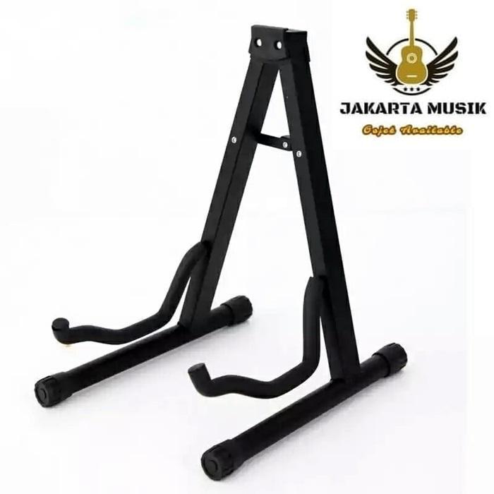 Stand gitar adjustable universal akustik eletrik -Black