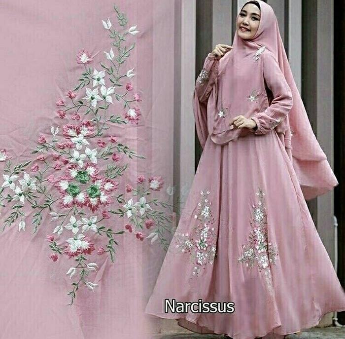 narcissus maxi baju gamis muslim murah baju hijab syari/Gamis Mewah Murah/Gamis Syar'i/Gamis Bagus