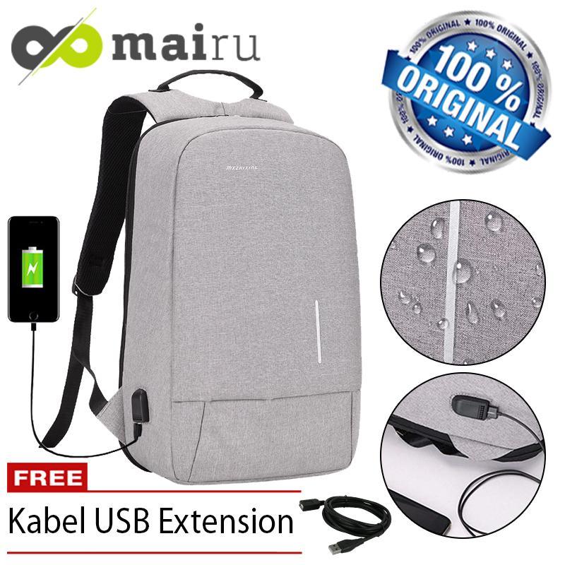 Mairu 3194W Tas Ransel Laptop Pria Wanita Sekolah Anti Maling Backpack Kanvas Travel Support USB Charger Port Unisex Korea