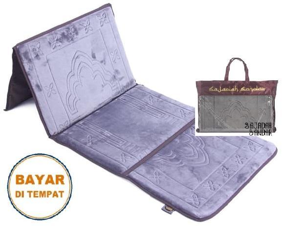 (ABU-ABU) 1 Sajadah Sandar Surabaya 100% Premium Quality Sajadah Lipat Portable Beludru