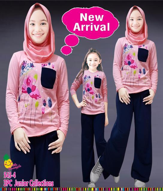 (7-12th) Baju Muslim Anak Perempuan LP Kaos Peach Bunga Kulot Navy