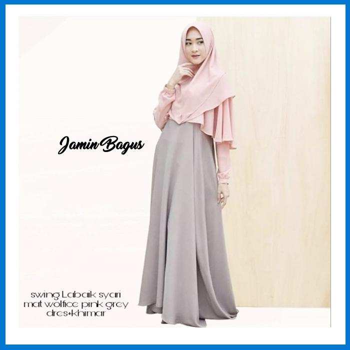Best Seller swing Labaik syari Pink Grey Termurah Bahan Berkualitas Ukuran Free Size fit to L Elegan Untuk Pesta