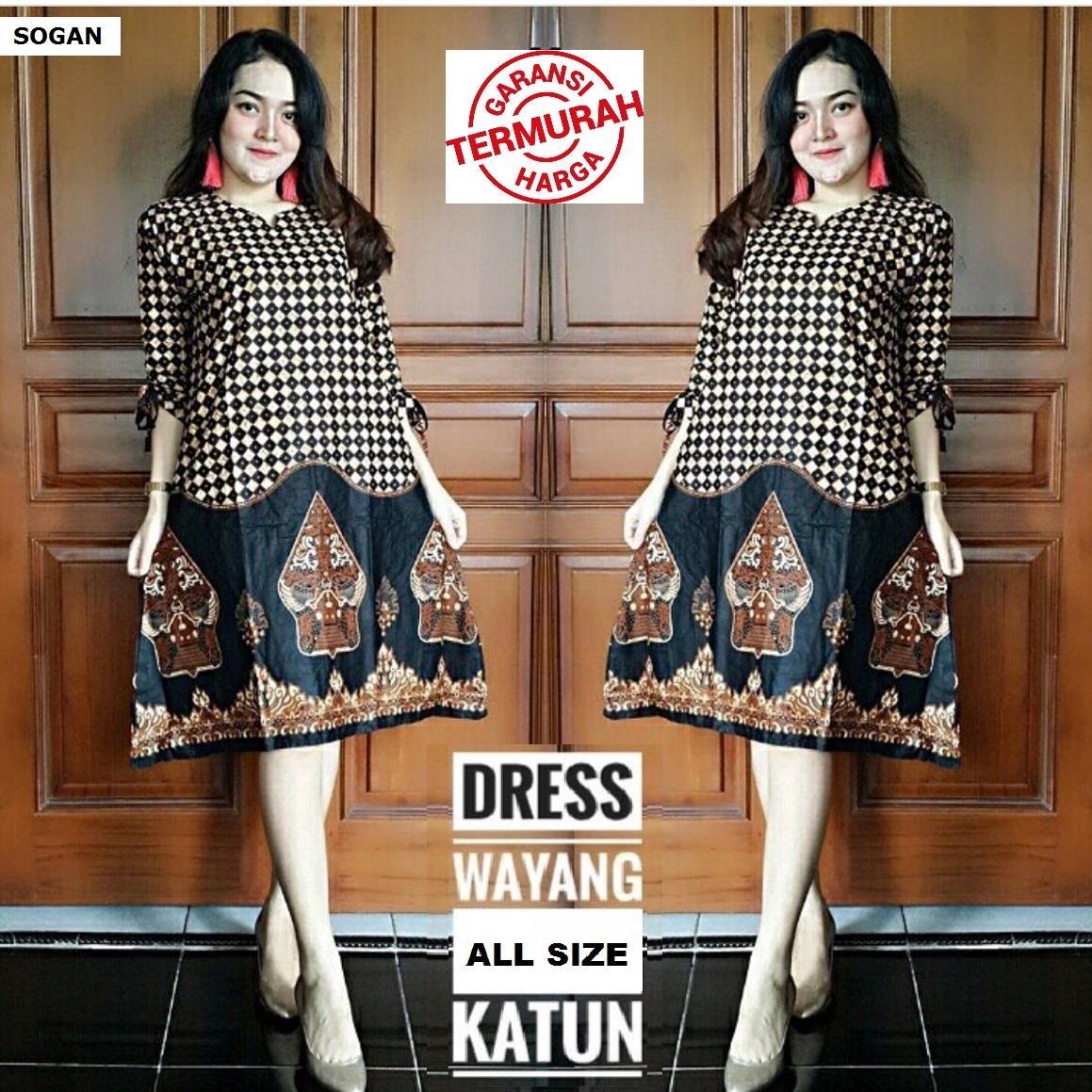 Harga Jual Baju Wanita Dress Batik Tunik Genes Serut D 128700 Jo Lakesha Dusty Atasan Kantoran