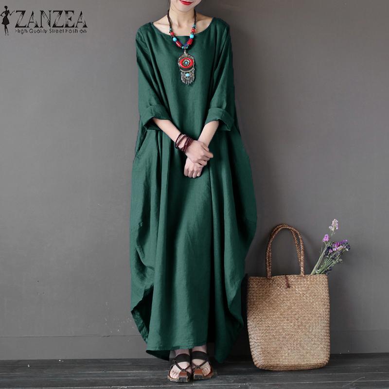 ZANZEA Wanita Crewneck 3/4 Batwing Lengan Baggy Maxi Panjang Baju Kemeja Kasual Partai Kaftan Solid Jubah Vestido Plus Ukuran (hijau) -Intl