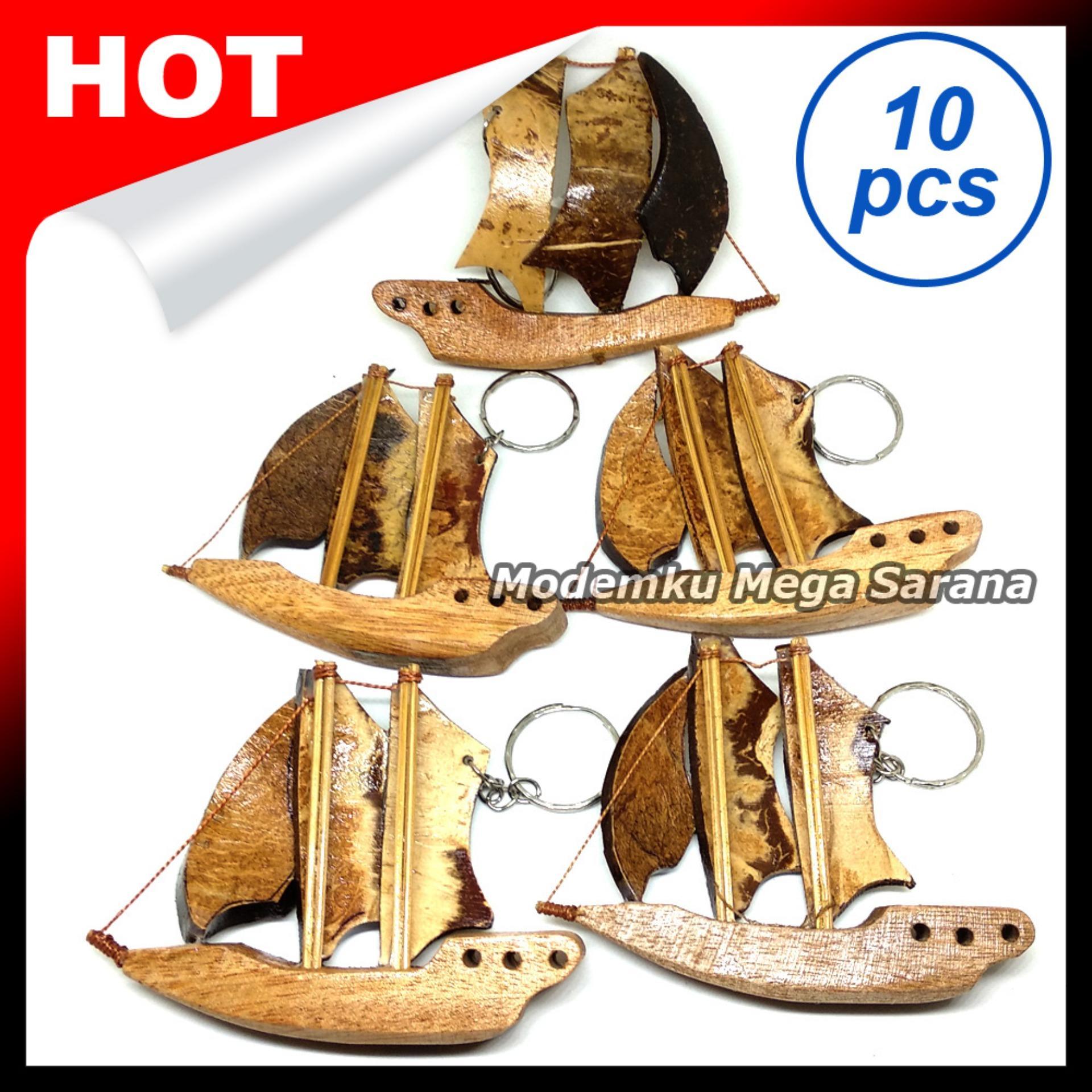 Souvenir Gantungan Kunci Kapal Prau B Kayu - Isi 10pcs