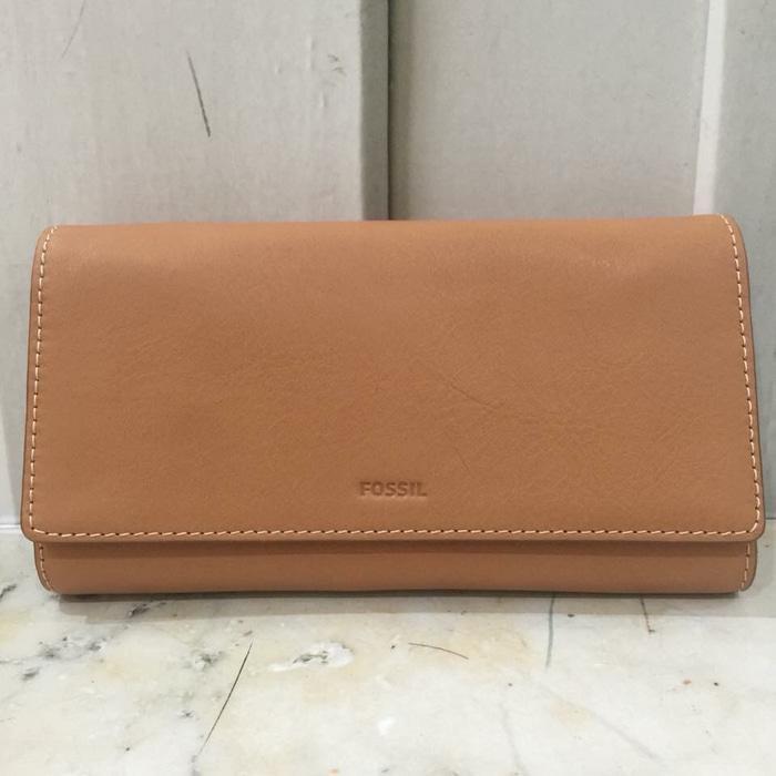 FOSSIL emma flap wallet tan dompet original leather kulit  - nu6uK7