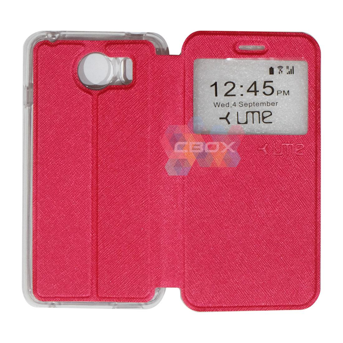 Ume Flipshell Leather Phone Himax M1 Sarung Case / Flipshell Ume Himax M1 / Flipcover Ume Himax M1 / Leather Case Ume Himax M1 / Sarung HP Himax M1 / Flipshell Himax M1 / Flipcover Himax M1 / Casing Himax M1 - Merah