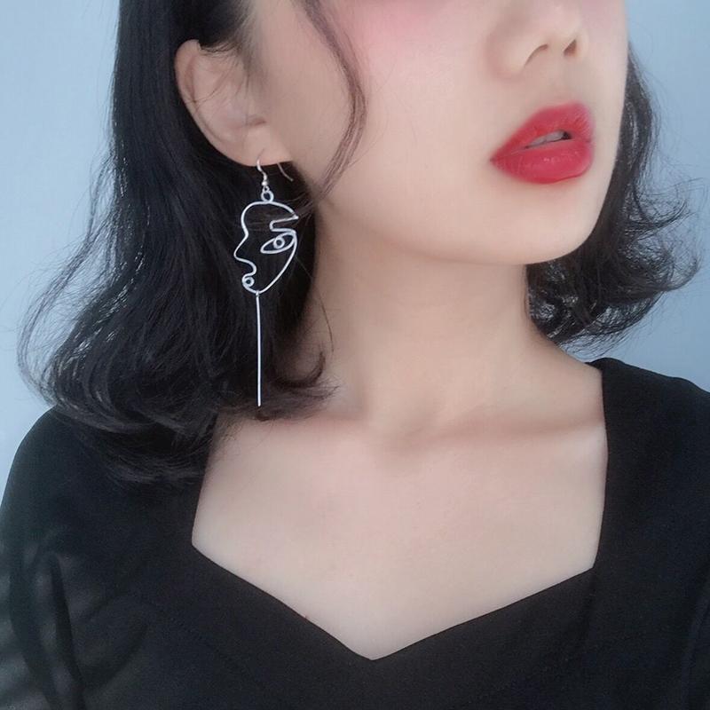S925 Jepang dan Korea Selatan asimetris abstrak berongga ear hook anting-anting perak sterling