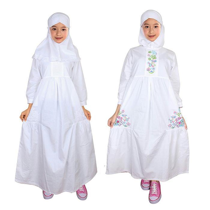 Fayrany FGP-005 size 7 - 12 Busana Muslim Gamis Anak - Putih - Bordir Warna