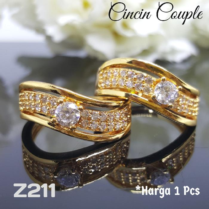 Z211 Cincin Couple Tunangan Pernikahan Berlian (Perhiasan Xuping Emas)