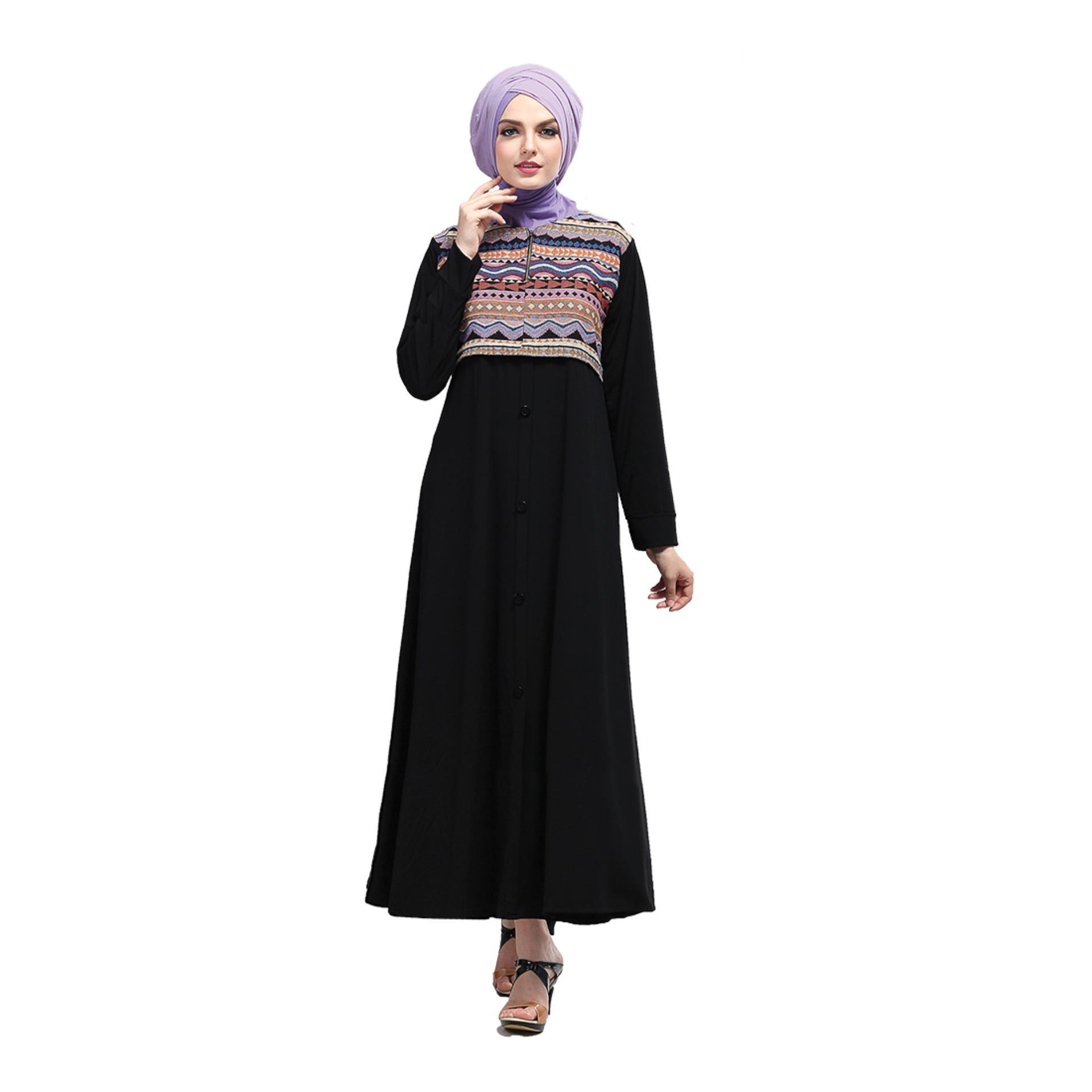 Baju Jersey Gamis Muslimah Wanita Hitam