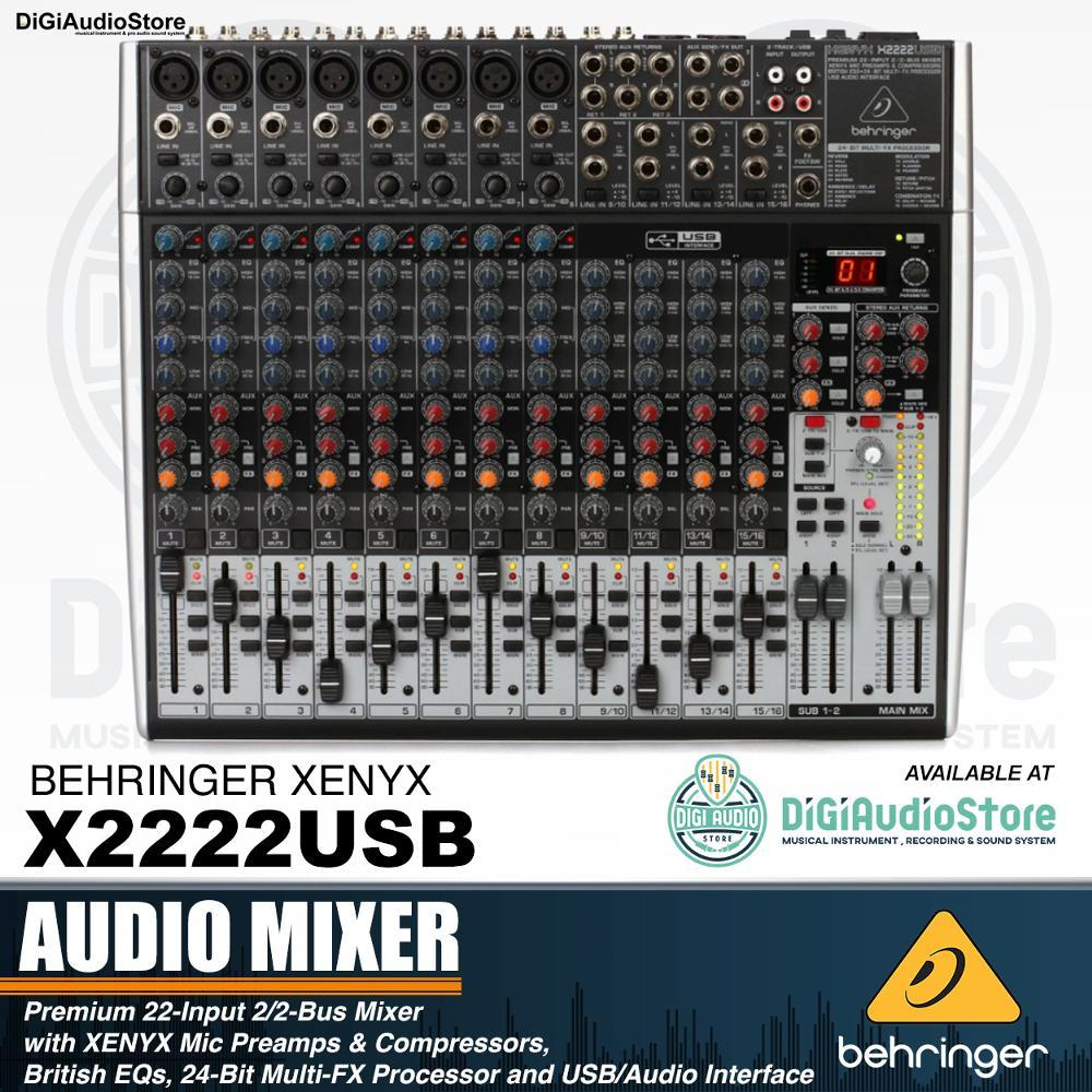 Behringer X2222USB [ X 2222 USB ] Audio Mixer 22 INPUT 2/2 BUS CHANNEL with Soundcard FOR recording