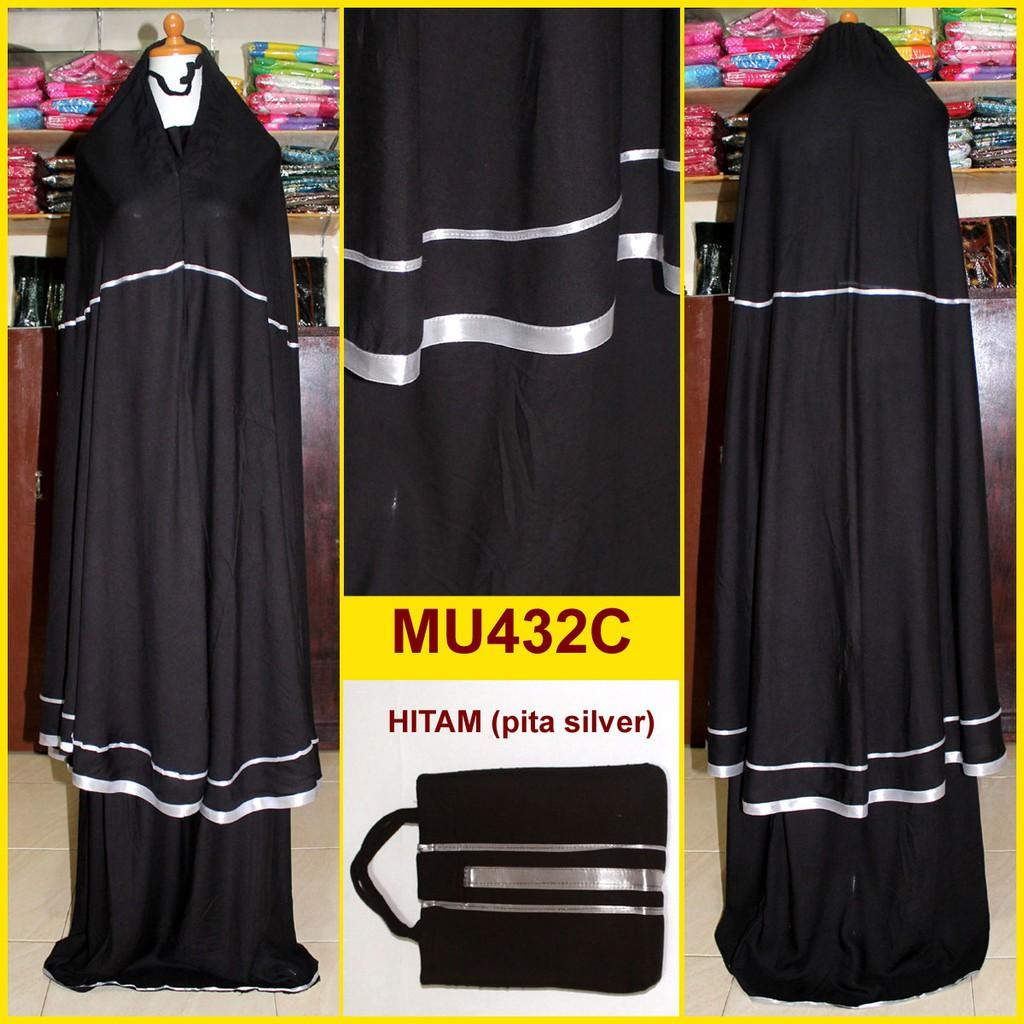 Mukena Katun Rayon Hitam Elegan Lis Pita - MU432C (Pita Silver)