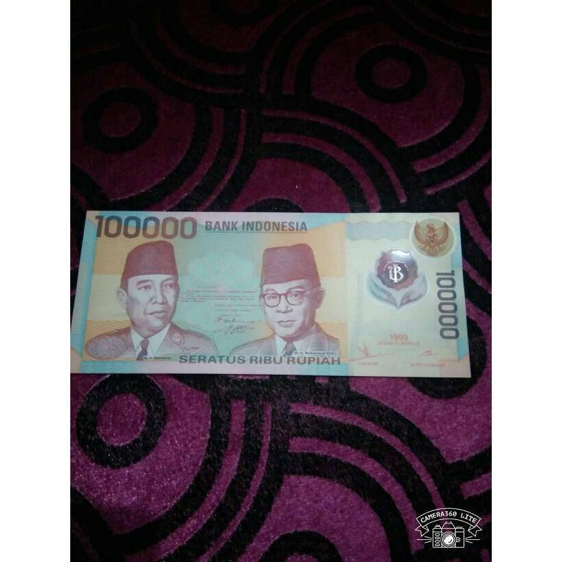 Uang Kuno Jadul Seratus Ribu Polymer Th 1999 Soekarno Hatta 100 Ribu R7010