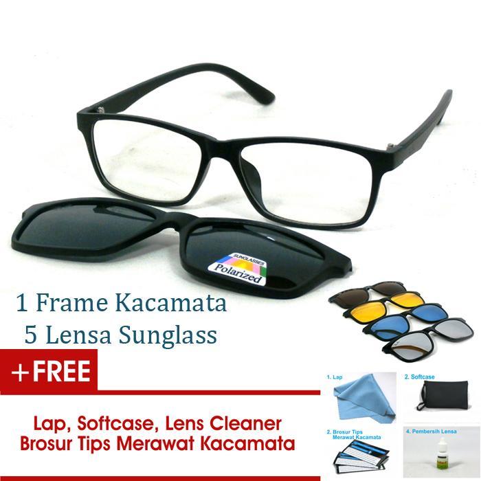 Frame Kacamata Clip On Gratis 5 Lensa Warna Sunglass Polaroid Night View Bisa Ganti Lensa Minus Di