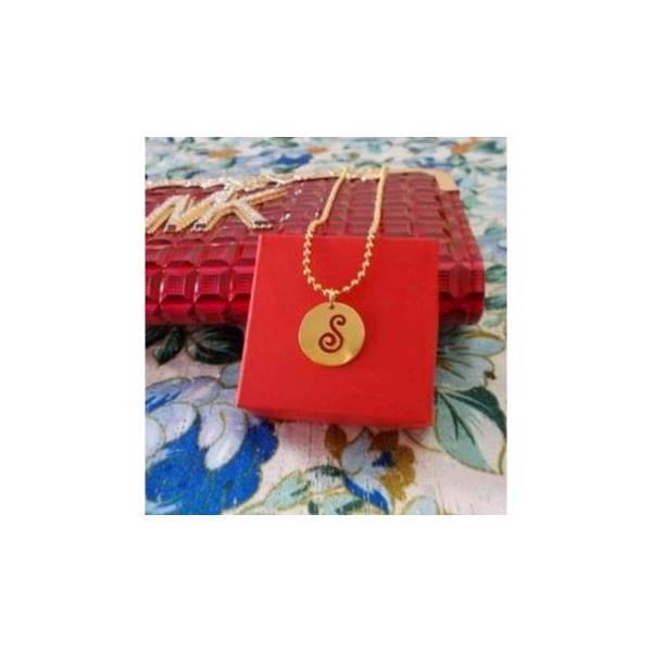 Kalung Liontin Koin Inisial Nama []Perhiasan Wanitan Lapis Emas