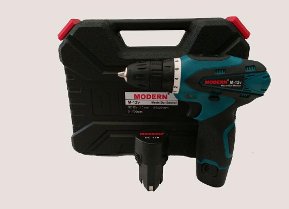 Mesin Bor Modern M 12 V - 10 MM Portable Baterai Tanpa Kabel Cordless Drill Kuat Aman Tahan Lama Mesin Bor Kayu Multiplek Besi Baja Galvalum