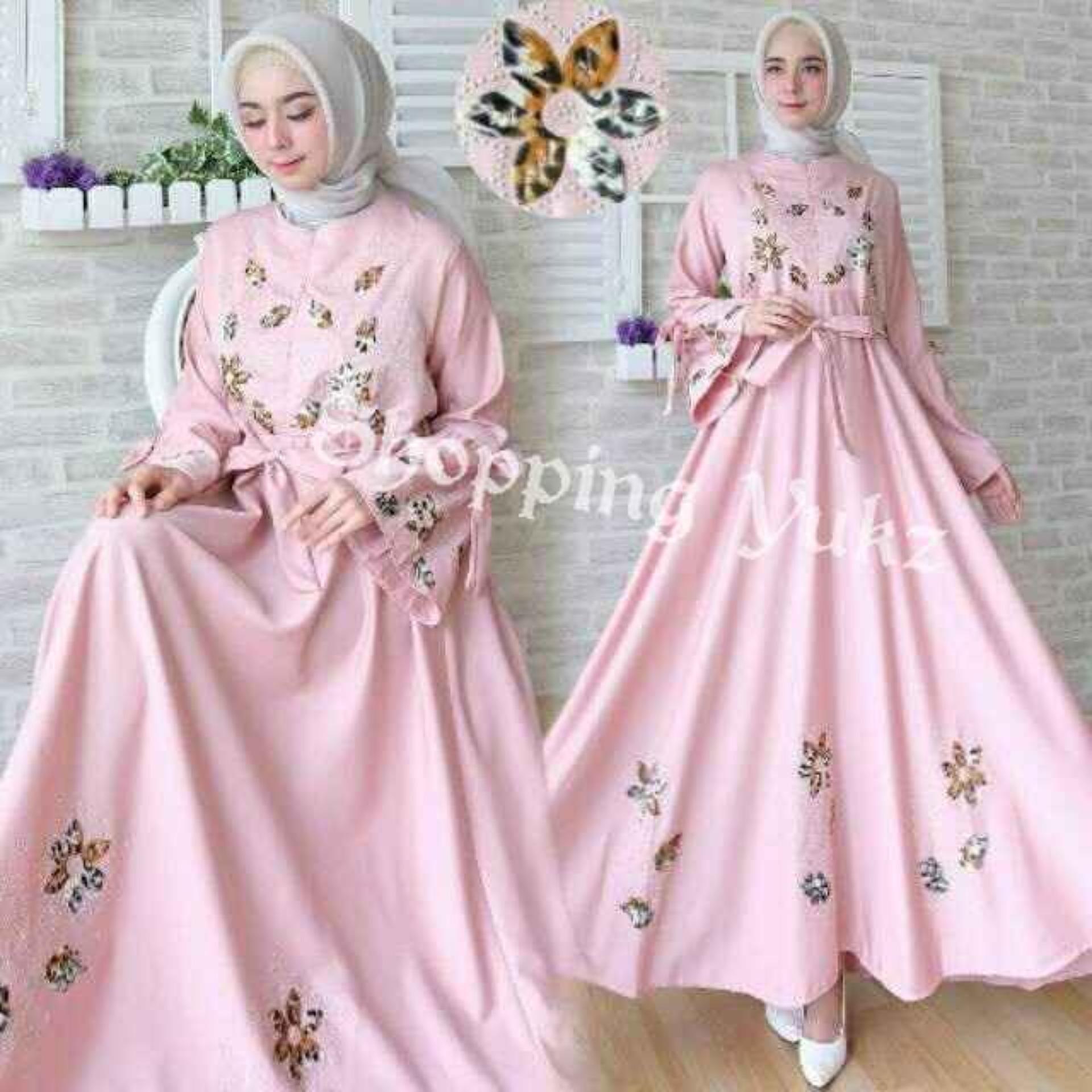 Shopping Yukz Baju Gamis Dress Muslim Syari Wanita MAXI FLOWER ( Tanpa Jilbab ) / Hijab Muslimah / Baju Muslimah Wanita / Syari Syari'i Muslim / Gaun Muslim / Long Dress Muslimah Wanita