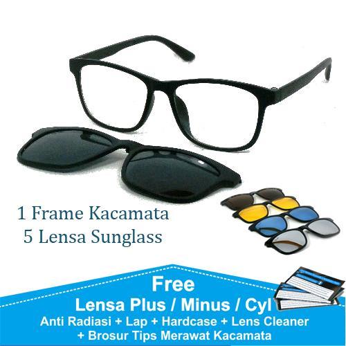 Frame Kacamata Baca Minus Anti Radiasi Komputer Clip On 5 Lensa Warna Sunglass Polaroid Night View 2201