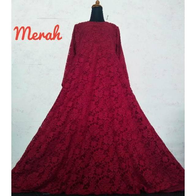 Realpict gamis muslim dress pesta maxi maxy brukat brokat bruklat cord tulang timbul mewah premium broken white m