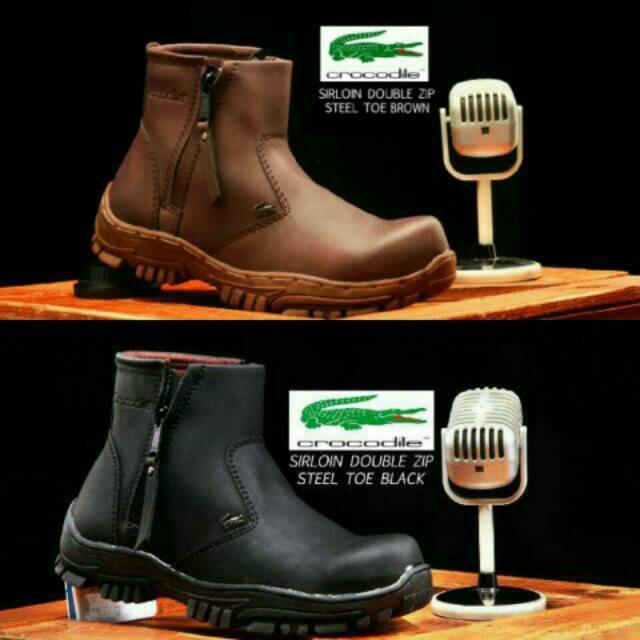 Sepatu Boots Crocodile Sirloin Safety Boot Double Zipper Murah Worksafe Proyek Steel Toe Tracking