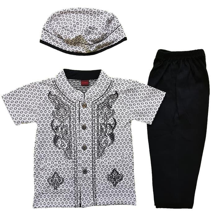 New Baju Muslim Koko (6-12 Bulan) Anak Bayi Laki-Laki Rompi Set Peci LY3 Promo