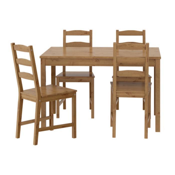 IKEA JOKKMOKK Meja Makan Set dengan 4 kursi, Kayu Pinus Solid