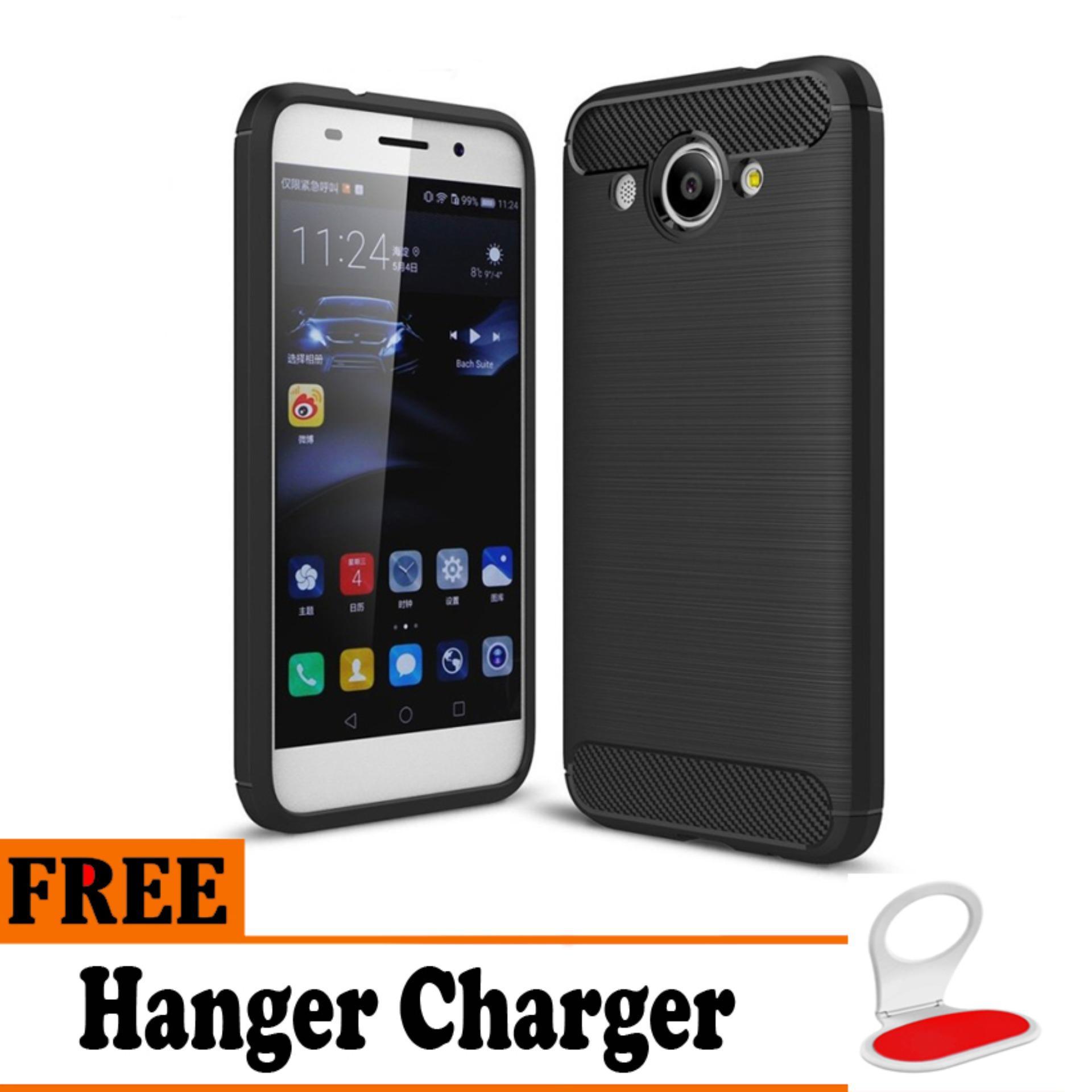 Softcase Ipaky Shockproof Matte Black karbon untuk Huawei Y3 2017   - Free Hanger Charger