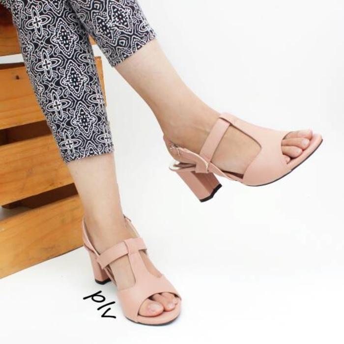 Pluvia - Sepatu High Heels Hak Tinggi Tahu Wanita KN01 - Salem