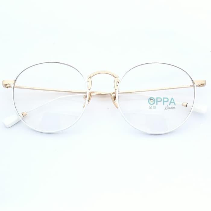 Frame Kacamata Korea Pria Wanita OPPA OP02 FWHGD Putih Bulat Fashion