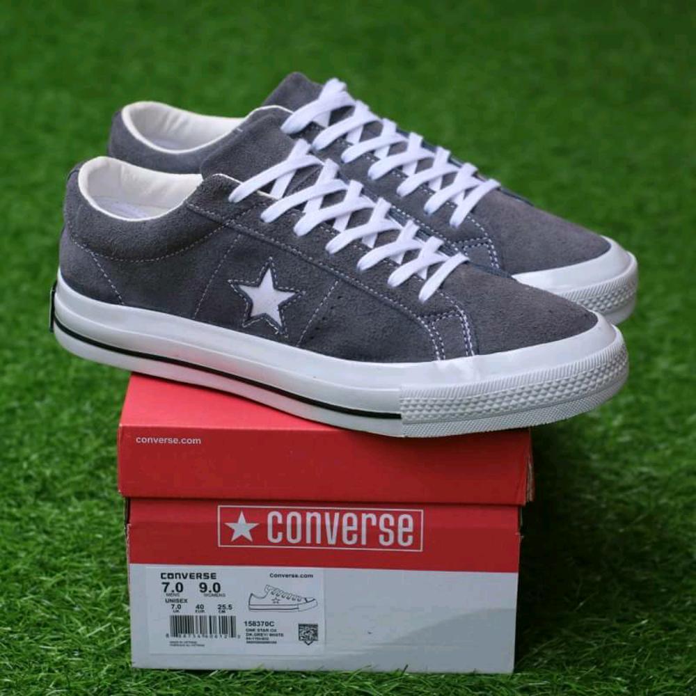 Promo Sepatu Converse one star ox suede dark grey sneaker casual pria premium Diskon
