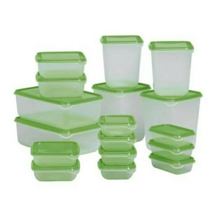 Ikea Pruta/ Toples Container Set Isi 17Pcs/ Kotak Makan/Box HIJAU ASLI